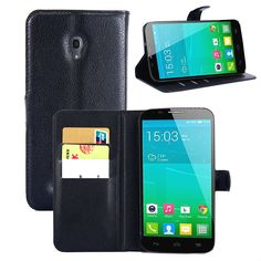 Free Shipping for Alcatel case Litchi texture PU Leather Flip Case For Alcatel One Touch Pop S9/OT7050K Wallet style Phone Case