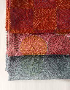 Kantha embroidered silk scarves