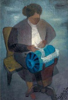 La dentellière. Huile sur toile de Louis TOFFOLI (français 1907 - 1999)