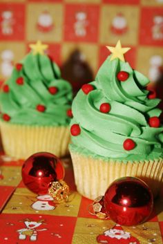 Cute Christmas Tree Cupcake
