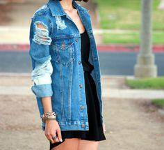 distressed denim jacket via Style with Benefits!