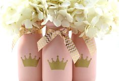 Princess Crown Baby Shower Pink and Gold Painted Milk Bottles by HalfPintPMB on Etsy