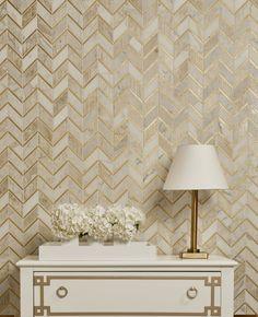 Luminous Ray Calacatta w/ Gold image via akdo Decor, Tile Inspiration, Home Decor, Gold Tiles Bathroom, Akdo, Gold Walls, Gold Tile, Metal Tile Backsplash, Gold Tiles Kitchen