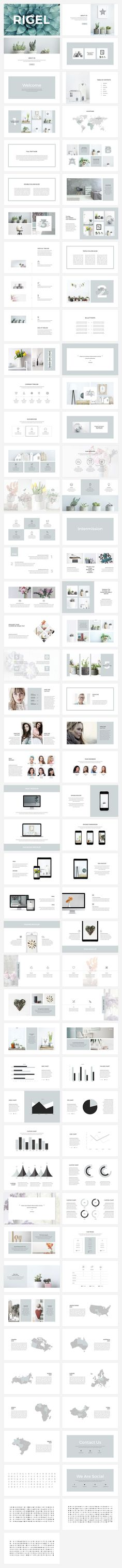 Rigel Presentation Template by SlideStation on @creativemarket                                                                                                                                                                                 More