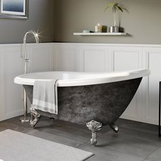 "Scorched Platinum X Acrylic Slipper Bathtub With"" Deck Mount Faucet Holes & Polished Chrome Ball & Claw Feet - Cambridge Painted ""Scorched Platinum"" Acrylic Clawfoot Bathtub. Each Tub is a Steam Showers Bathroom, Bathroom Faucets, Soaking Bathtubs, Wood Bridge, Dream Bathrooms, Clawfoot Bathtub, Polished Chrome, Contemporary Design, Brushed Nickel"