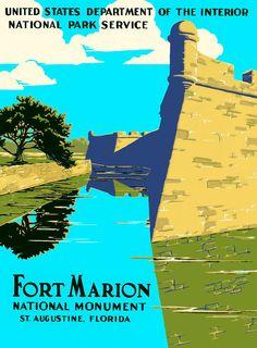 Fort Marion - Castillo De San Marcos Print - Historic St. Augustine, Florida Vintage Poster