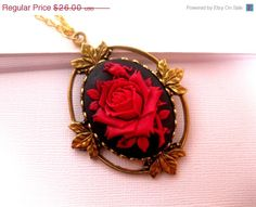 Back To School Sale Wicked Black Red Rose Cameo Necklace Set In Gold