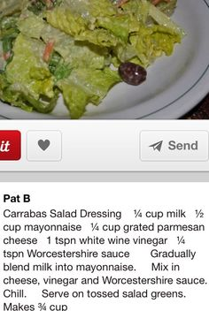 Carraba s House Salad! House Dressing Recipe, Salad Dressing Recipes, Salad Recipes, Salad Dressings, Ceasar Salad, House Salad, Cooking Recipes, Healthy Recipes, Side Recipes