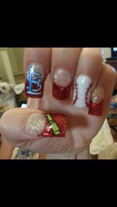 Cardinal's nail art Pretty Nails, Fun Nails, Baseball Nails, Hair And Nails, Nail Designs, Polish, Cardinals Baseball, Amazing Nails, Nail Art