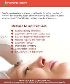 DocEngage Medispa is a cloud based software for the Beauty service businesses. know more features at http://medispa.docengage.in/MedispaManagement.html