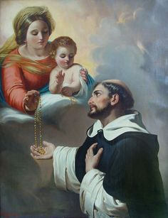 Saint Dominic given the Rosary by St. Mary, Our Lady of the Rosary, in the… Catholic Saints, Catholic Art, Roman Catholic, Patron Saints, Saint Dominic, Rosary Guide, Scriptural Rosary, Saying The Rosary, Image Jesus
