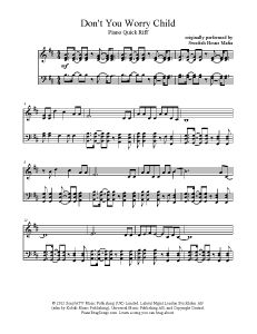 Don't You Worry Child - Swedish House Mafia. Find more free sheet music at www.PianoBragSongs.com.