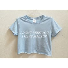 I Don't Need You I Have Makeup Graphic Print Women's Crop Shirt S M L... ($16) ❤ liked on Polyvore featuring tops, t-shirts, black, women's clothing, t shirt, crop top, tee-shirt, crop t shirt and checkered shirt