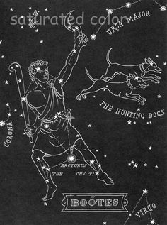 BOOTES - The Hunting Dogs Night Sky Star Chart Map -  Northern Stars Constellations from 1948 Astronomy Textbook