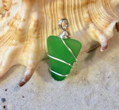 Green Mermaid Tears Wrapped Sea Glass Pendant, Spring Jewelry must have, Birthday gift for Sister, Girl Friend, St Patrick's day Present