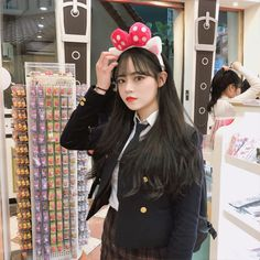 Pretty Korean Girls, Cute Korean Girl, Cute Asian Girls, Cute Girls, Asian Boys, Korean Bangs Hairstyle, Korean Student, Cute School Uniforms, Korean Ulzzang