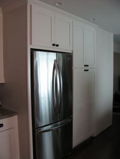 pantry into built in cabinet : enclosed fridge