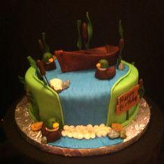 Outdoor themed birthday cake
