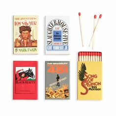 Banned Books Match Set: Vintage covers of banned books make these matches, sold in sets of five, the ones to reach for. From restorationhardware.com