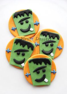 Edible Halloween cupcake toppers - FRANKENSTEIN - Fondant cake decorations Halloween Cupcakes  (6 pieces)