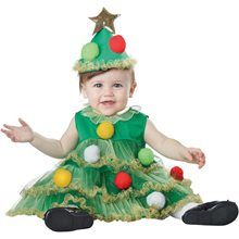 The holiday season hasn't begun until the Christmas tree is up and trimmed with festive ornaments. Or instead you can just dress up your little girl in this Lil' Christmas Tree costume for babies and call it a day. Halloween Bebes, Trendy Halloween, Baby Halloween Costumes, Baby Costumes, Halloween Club, Holiday Costumes, Toddler Christmas Outfit, Christmas Fancy Dress, Christmas Baby