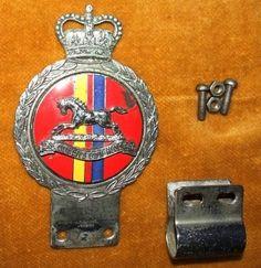 Vintage J. GAUNT THE QUEENS OWN HUSSARS Car Badge Emblem Mascot Grille Ornament (10/06/2012)