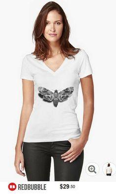 Death's-Head Hawkmoth V Neck Tshirt #artbyurte