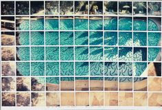 David Hockney, Sun On The Pool Los Angeles April 13th 1982 composite polaroid, 34 3/4 x 36 1/4 in.