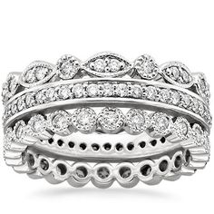 18K+White+Gold+Luxe+Antique+Eternity+Diamond+Ring+Stack+(1+ct.+tw.)+from+Brilliant+Earth