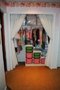 Closet curtains instead of door--still need to do this in our room.