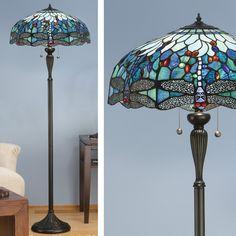 Piantana Tiffany / Lampada da Terra Tiffany con Libellule