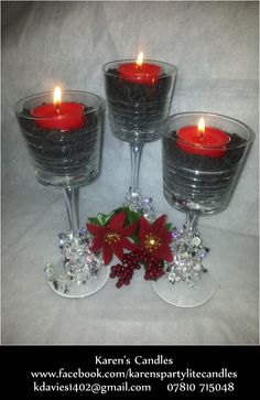 Our Clear Lines Stemmed Trio filled with tiny slate pieces with standard sized tealight on top. Simple christmas decorations around base.