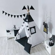 Black and White Teepee Tipi Play Tent Play House Nursery