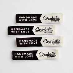 "Sewaholic Patterns - ""Handmade With Love - Sewaholic"" Woven Clothing Label - Pack of 4 Sew-In Labels, $3.98 (http://www.sewaholicpatterns.com/handmade-with-love-sewaholic-woven-clothing-label-pack-of-4-sew-in-labels/)"