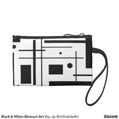 Black & White Abstract Art Custom Key Coin Clutch