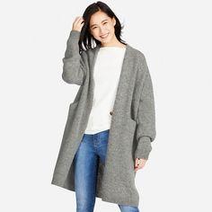 WOMEN Melange Wool Long Sleeve Coat