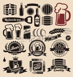 Icônes de bière, étiquettes, enseignes, dessins et éléments de conception de logo Banque d'images