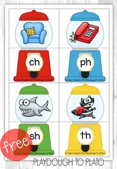 Free Digraph Gumball Puzzles are perfect for kindergarten and first grade literacy centers! A great printable for centers! Kindergarten Language Arts, Teaching Kindergarten, Kindergarten Centers, Literacy Centers, Preschool, Teaching Ideas, Guided Reading Activities, Phonics Activities, Teaching Reading