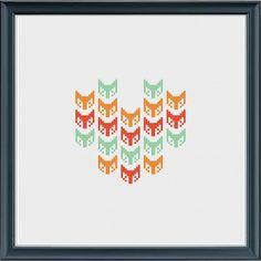 Geometric design fox heart cross stitch pattern by CaractacusCrane, £1.50
