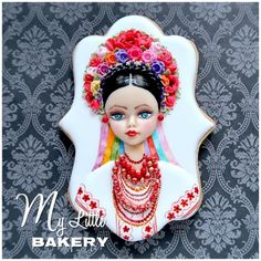 "Ukrainian girl - cake by Nadia ""My Little Bakery"" - CakesDecor Fancy Cookies, Iced Cookies, Easter Cookies, Royal Icing Cookies, Cupcake Cookies, Gingerbread House Icing, Gingerbread Decorations, Flower Head Wreaths, Arts Bakery"