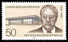 Ludwig Mies Van Der Rohe and Berlin. The Neue Nationalgalerie at the Kulturforum is a museum for modern art in Berlin. The museum building and its sculpture gardens were designed by Ludwig Mies van der Rohe and opened in Bauhaus Interior, Bauhaus Architecture, School Architecture, Architecture Photo, Modern Architecture, Ludwig Mies Van Der Rohe, German Stamps, Commemorative Stamps, Google Doodles