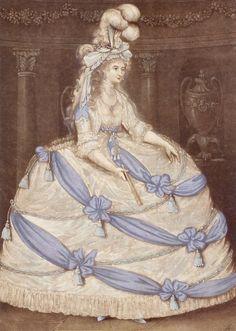 1795 Princess Caroline of Wales wearing court dress. Wife of Prince George and Princess Charlotte's Mother. Fashion History, Fashion Art, Royal Fashion, Costume Français, Vintage Outfits, Vintage Fashion, 1800s Fashion, Victoria Reign, 18th Century Costume
