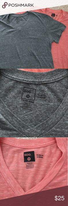 BDG gray and salmon coral v neck men's tee shirts BUNDLE OF TWO TOPS! Like new, really. Great condition. Only worn a few times. Very light and breezy, you can layer them if you like too because they are so thin. SO comfortable. Size medium in men's but it could be a boyfriends fit for a girl! :) BDG Shirts Tees - Short Sleeve