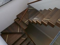 Windsor Study Staircase - St James Interiors - Solid walnut cantilever stair treads with satin brass inlay. Cantilever Stairs, Stair Handrail, Staircase Railings, Staircases, Stairs In Living Room, House Stairs, Railing Design, Staircase Design, Interior Staircase