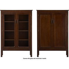 """Ainsworth Cognac 40"""" 2-Door Cabinet with Wood/Glass Doors in Bookcases, Cabinets 