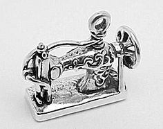 Sterling Silver Antique Sewing Machine Charm or Pendant