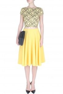 ahc Yellow Holiday Tie Up Crop Top And Circular Skirt