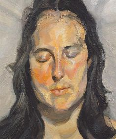 Woman with closed eyes by Lucian Freud, 2002. Stolen from the Kunsthal in Rotterdam this week ,16 octobre 2012.