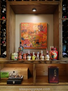 wine wall with collectibles