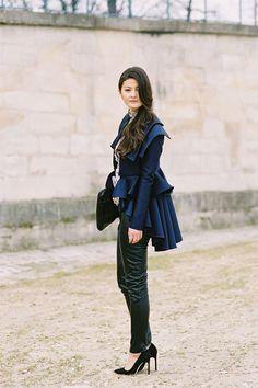 coat, pants, blouse. navy, black. texture, volume. ruffles. Vanessa Jackman: Paris Fashion Week AW 2012...Peony